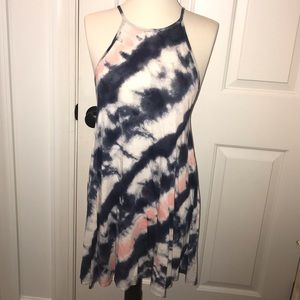 billabong blue and pink tie die dress